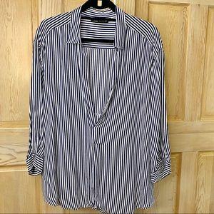 Zara - Navy and white striped blouse
